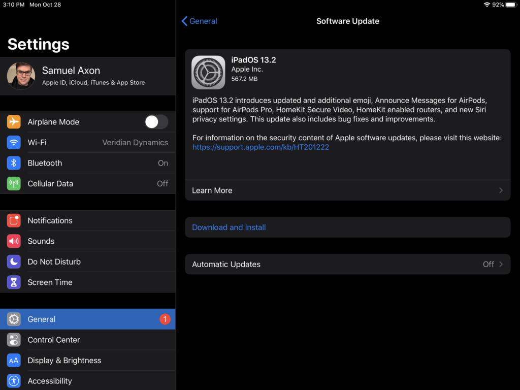Tampilan update ke iOS 13.2