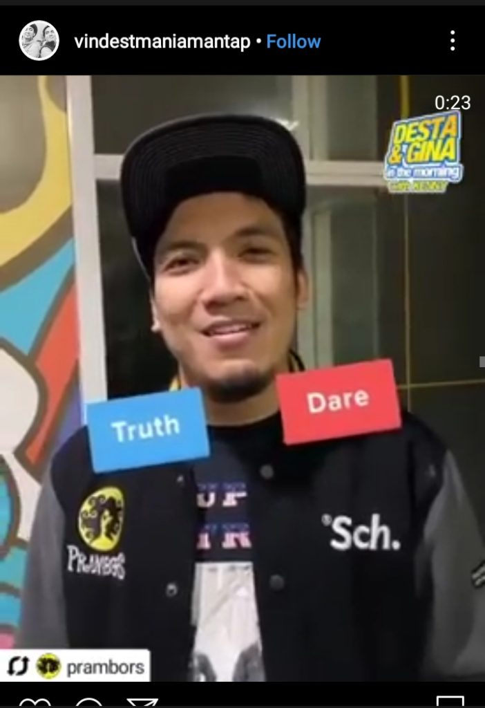 Desta saat memainkan truth or dare di Instagram Story