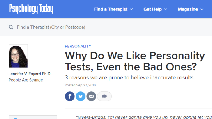 Tangkapan layar artikel Psychology Today yang menjelaskan mengapa tes kepribadian digemari (Psychology Today)
