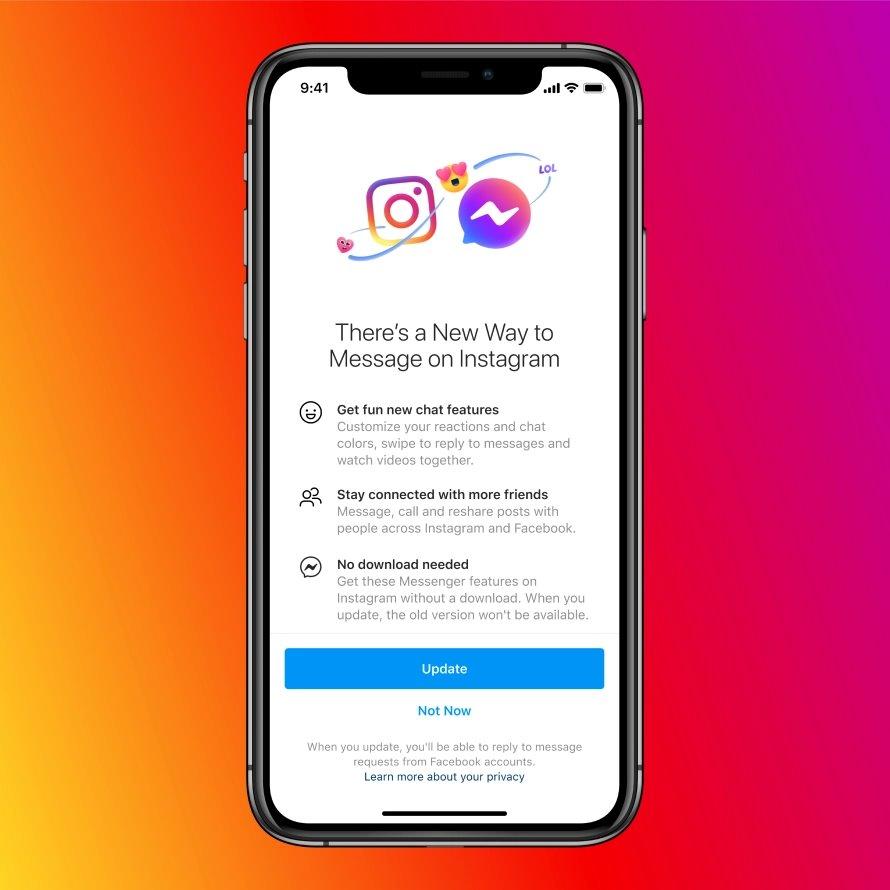 Berkirim pesan Instagram ke Facebook