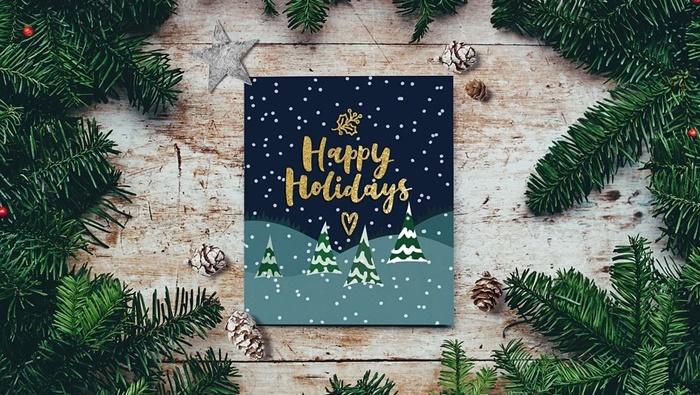 Membuat kartu ucapan Natal dan Tahun Baru