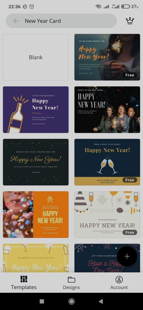 Membuat kartu ucapan tahun baru - Canva